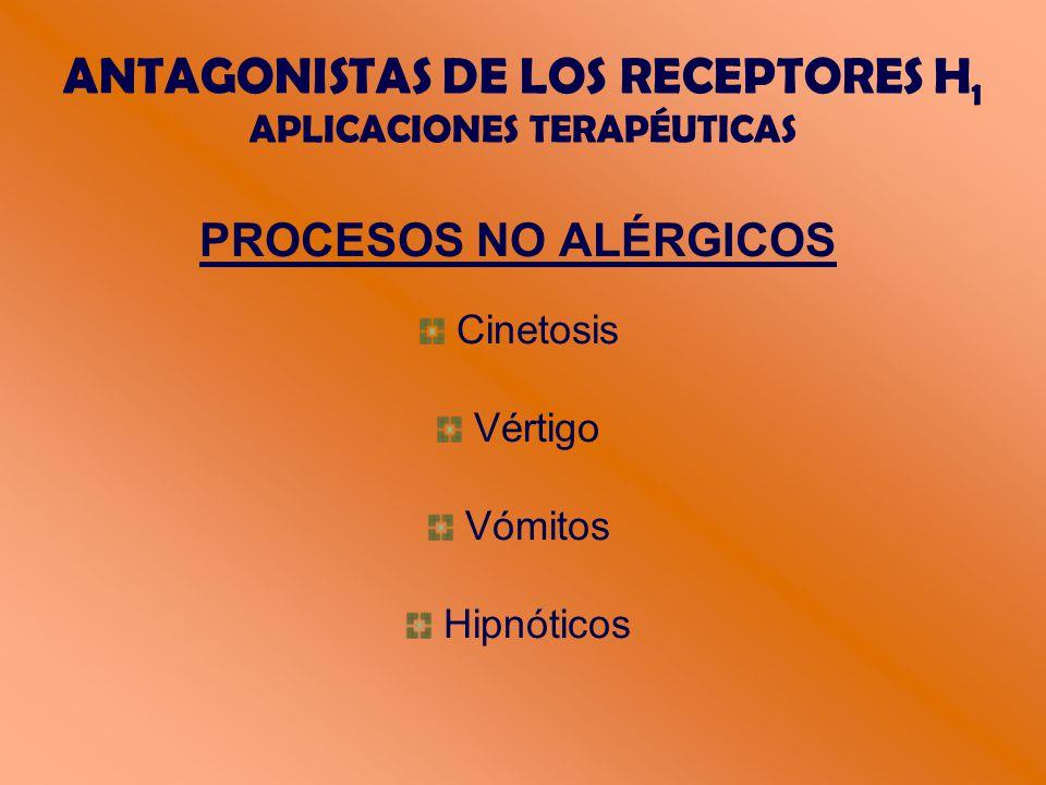 ANTAGONISTAS DE LOS RECEPTORES H 1 APLICACIONES TERAPÉUTICAS PROCESOS NO ALÉRGICOS Cinetosis Vértigo Vómitos Hipnóticos