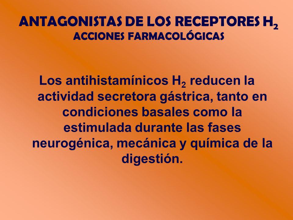 Los antihistamínicos H 2 reducen la actividad secretora gástrica, tanto en condiciones basales como la estimulada durante las fases neurogénica, mecánica y química de la digestión.
