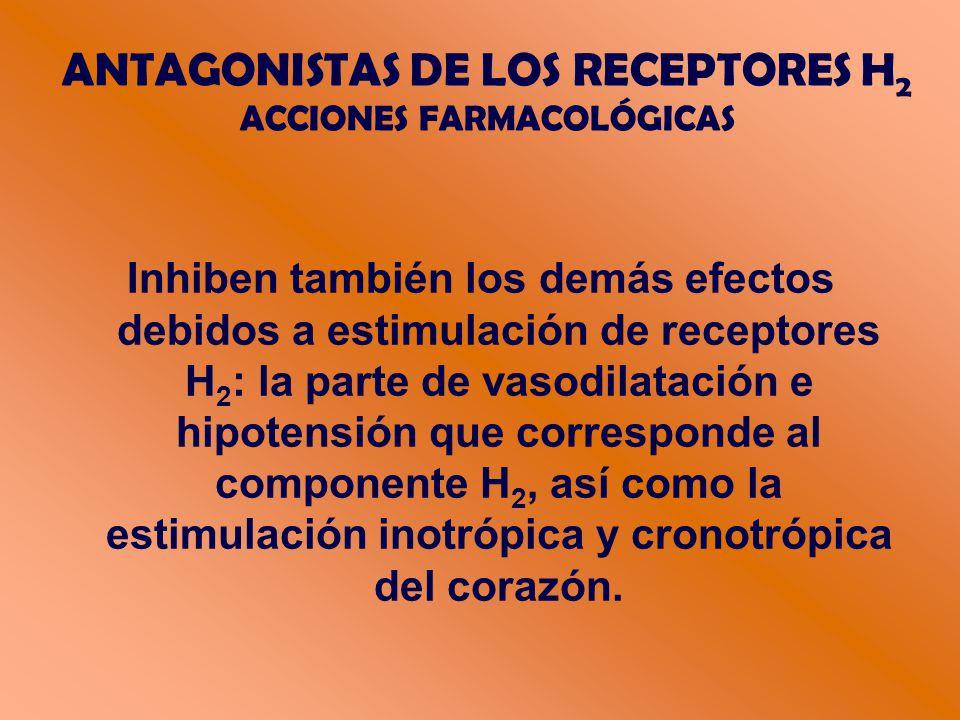 Inhiben también los demás efectos debidos a estimulación de receptores H 2 : la parte de vasodilatación e hipotensión que corresponde al componente H 2, así como la estimulación inotrópica y cronotrópica del corazón.