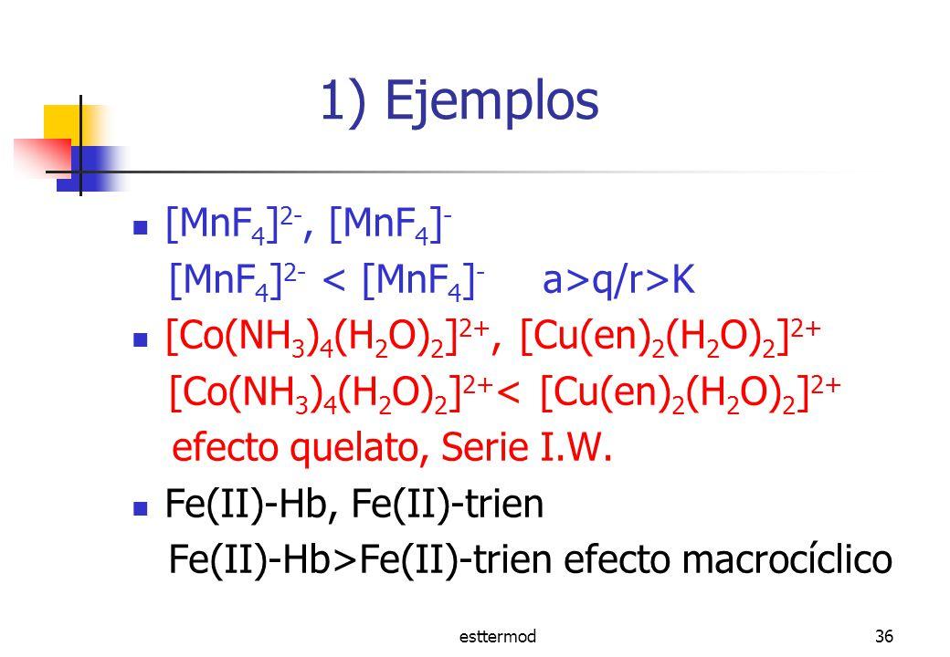 esttermod36 1) Ejemplos [MnF 4 ] 2-, [MnF 4 ] - [MnF 4 ] 2- q/r>K [Co(NH 3 ) 4 (H 2 O) 2 ] 2+, [Cu(en) 2 (H 2 O) 2 ] 2+ [Co(NH 3 ) 4 (H 2 O) 2 ] 2+ < [Cu(en) 2 (H 2 O) 2 ] 2+ efecto quelato, Serie I.W.