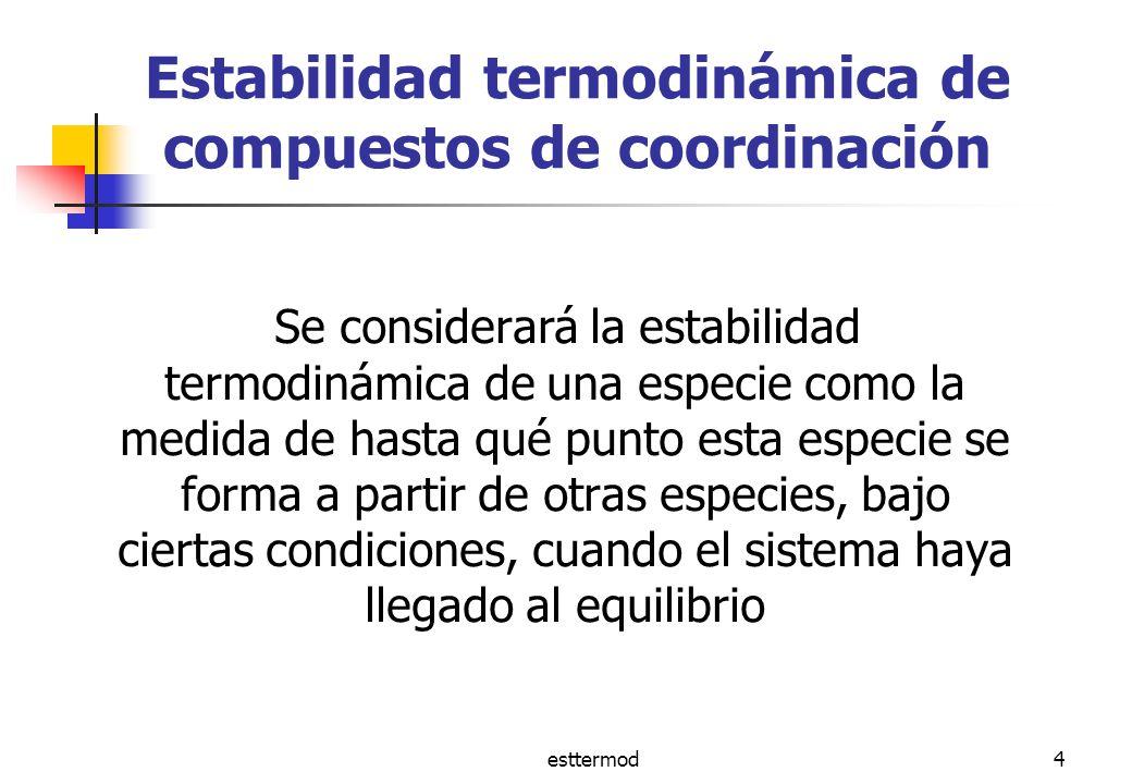 esttermod4 Estabilidad termodinámica de compuestos de coordinación Se considerará la estabilidad termodinámica de una especie como la medida de hasta qué punto esta especie se forma a partir de otras especies, bajo ciertas condiciones, cuando el sistema haya llegado al equilibrio