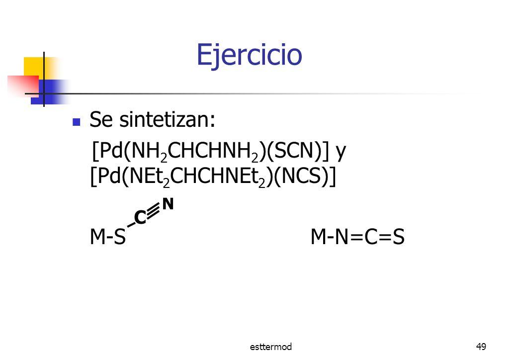 esttermod49 Ejercicio Se sintetizan: [Pd(NH 2 CHCHNH 2 )(SCN)] y [Pd(NEt 2 CHCHNEt 2 )(NCS)] M-S M-N=C=S C N