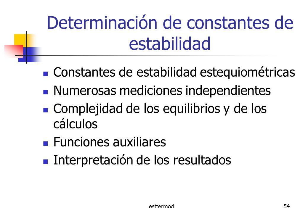 esttermod54 Determinación de constantes de estabilidad Constantes de estabilidad estequiométricas Numerosas mediciones independientes Complejidad de los equilibrios y de los cálculos Funciones auxiliares Interpretación de los resultados