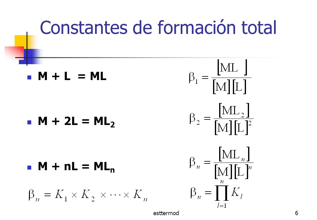 esttermod27 Efecto quelato : modelo de Schwarzenbach Moléculas de agua coordinadas Segundo ligando monodentado libre de moverse en solución Primer ligando coordinado Segundo átomo donor no coordinado