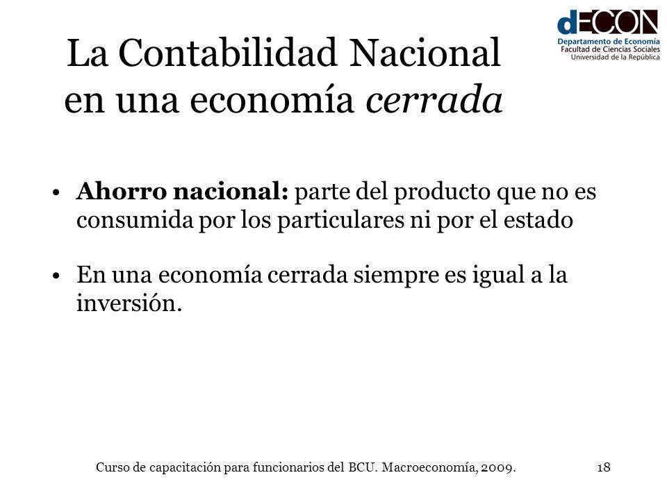 Curso de capacitación para funcionarios del BCU. Macroeconomía, 2009.18 La Contabilidad Nacional en una economía cerrada Ahorro nacional: parte del pr