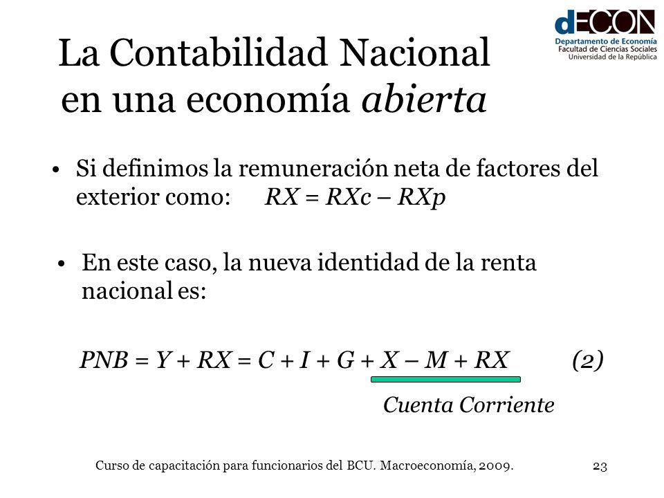 Curso de capacitación para funcionarios del BCU. Macroeconomía, 2009.23 La Contabilidad Nacional en una economía abierta En este caso, la nueva identi