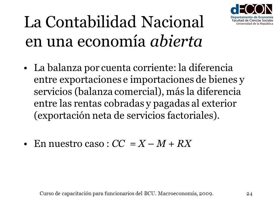 Curso de capacitación para funcionarios del BCU. Macroeconomía, 2009.24 La Contabilidad Nacional en una economía abierta La balanza por cuenta corrien