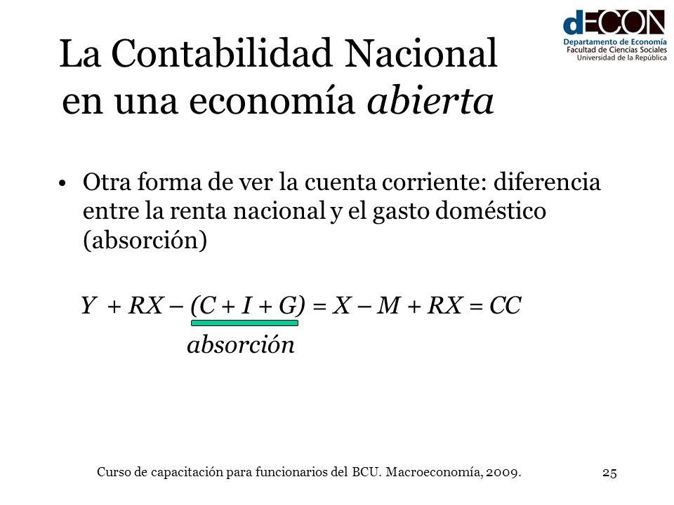 Curso de capacitación para funcionarios del BCU. Macroeconomía, 2009.25 La Contabilidad Nacional en una economía abierta Otra forma de ver la cuenta c