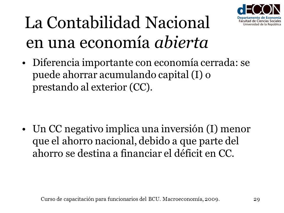 Curso de capacitación para funcionarios del BCU. Macroeconomía, 2009.29 La Contabilidad Nacional en una economía abierta Diferencia importante con eco