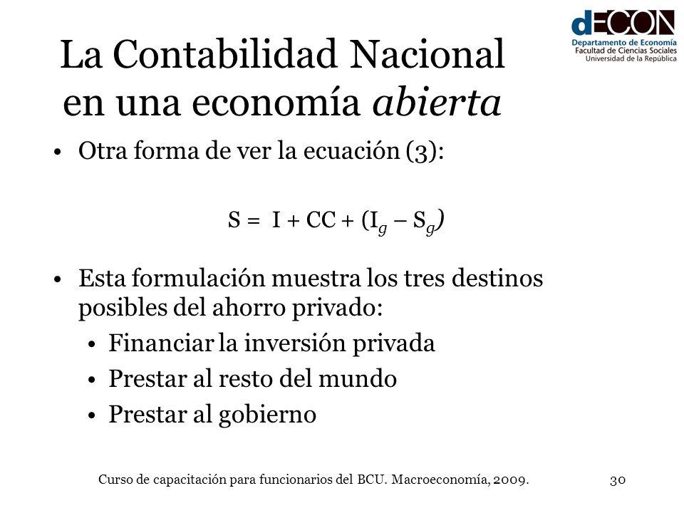 Curso de capacitación para funcionarios del BCU. Macroeconomía, 2009.30 La Contabilidad Nacional en una economía abierta Otra forma de ver la ecuación