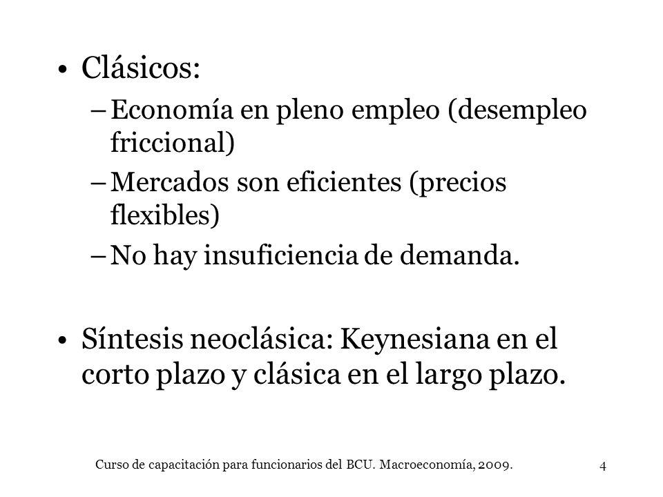 Curso de capacitación para funcionarios del BCU. Macroeconomía, 2009.4 Clásicos: –Economía en pleno empleo (desempleo friccional) –Mercados son eficie