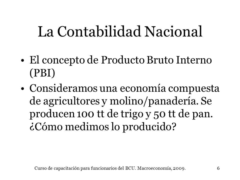 Curso de capacitación para funcionarios del BCU. Macroeconomía, 2009.6 La Contabilidad Nacional El concepto de Producto Bruto Interno (PBI) Consideram