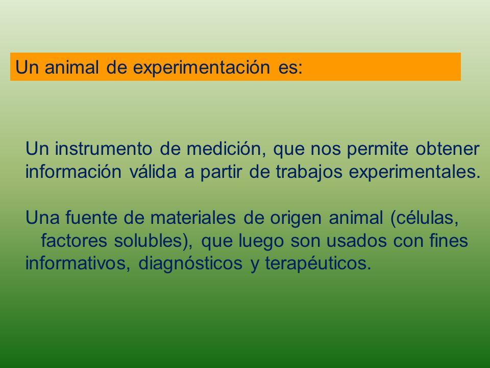 Un animal de experimentación es: Un instrumento de medición, que nos permite obtener información válida a partir de trabajos experimentales. Una fuent