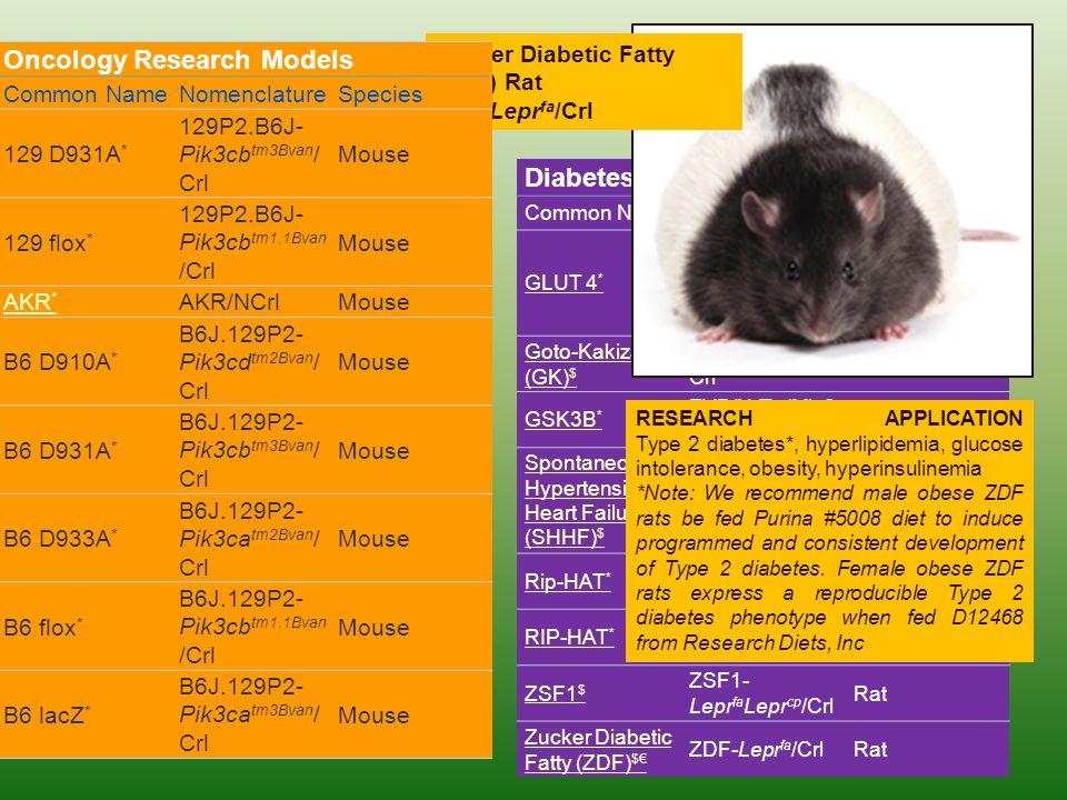 Diabetes Research Models Common NameNomenclatureSpecies GLUT 4 * C57BL/KsJ- db/db- Tg(SLC2a4)1Jd m Mouse Goto-Kakizaki (GK) $ GK/TohiCskCrlj Crl Rat G