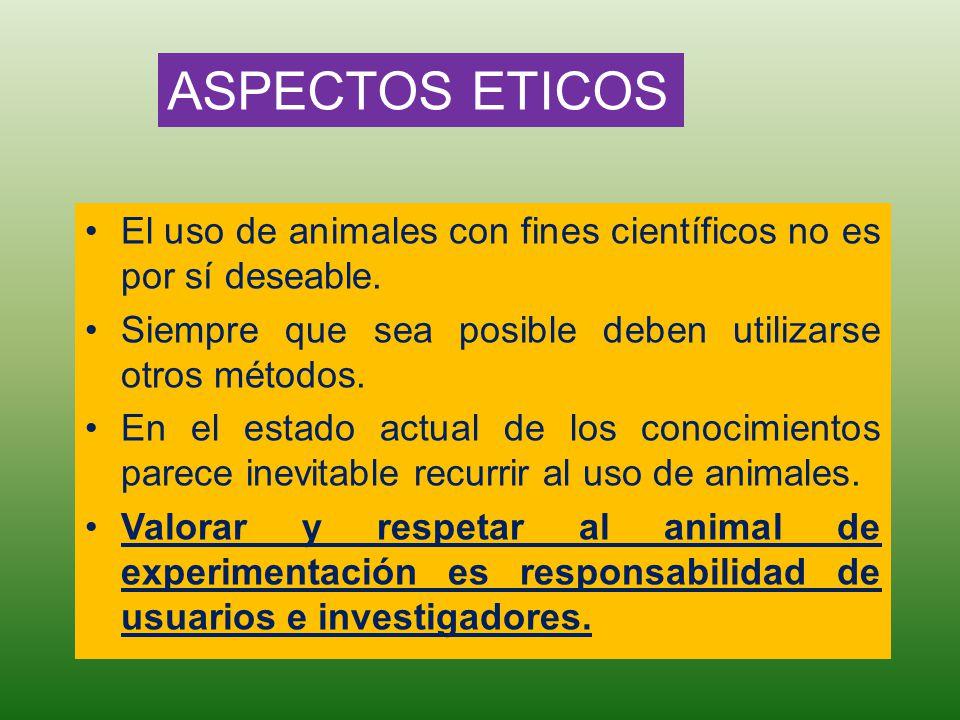 El uso de animales con fines científicos no es por sí deseable. Siempre que sea posible deben utilizarse otros métodos. En el estado actual de los con