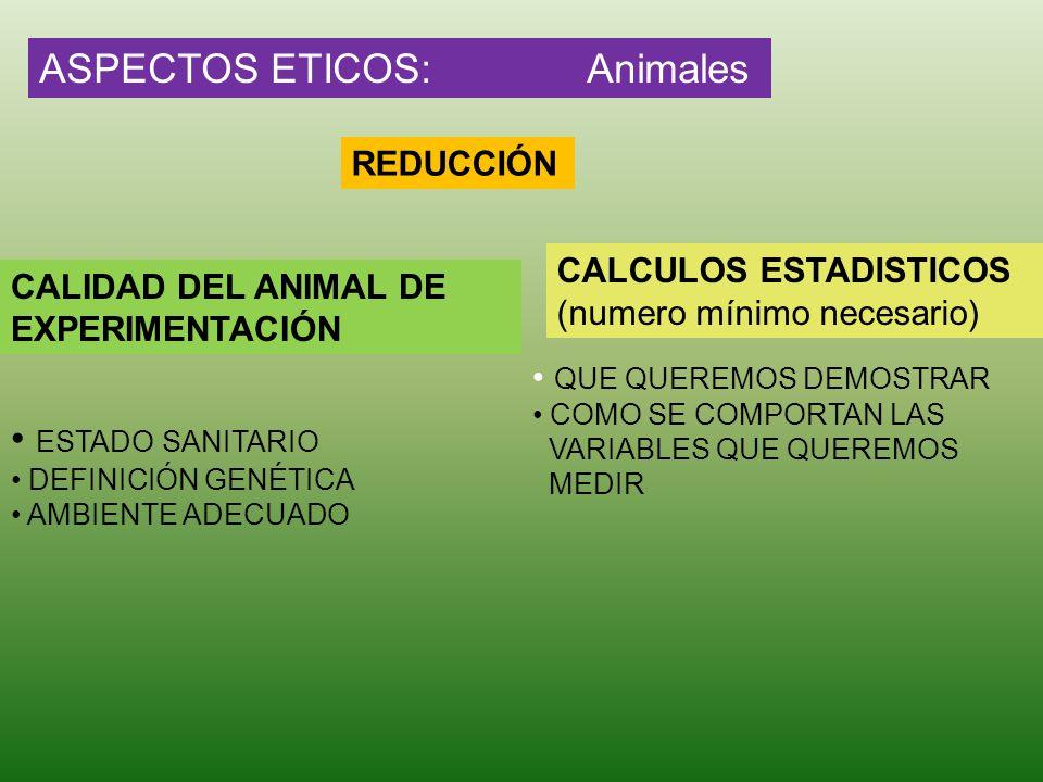 ASPECTOS ETICOS: Animales REDUCCIÓN CALIDAD DEL ANIMAL DE EXPERIMENTACIÓN ESTADO SANITARIO DEFINICIÓN GENÉTICA AMBIENTE ADECUADO CALCULOS ESTADISTICOS