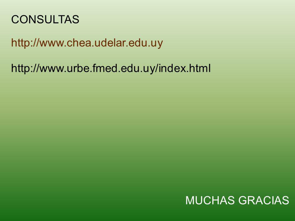 CONSULTAS http://www.chea.udelar.edu.uy MUCHAS GRACIAS http://www.urbe.fmed.edu.uy/index.html