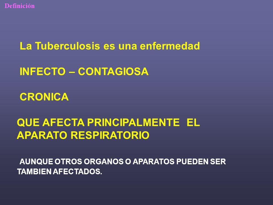 La Tuberculosis es una enfermedad INFECTO – CONTAGIOSA CRONICA QUE AFECTA PRINCIPALMENTE EL APARATO RESPIRATORIO AUNQUE OTROS ORGANOS O APARATOS PUEDEN SER TAMBIEN AFECTADOS.