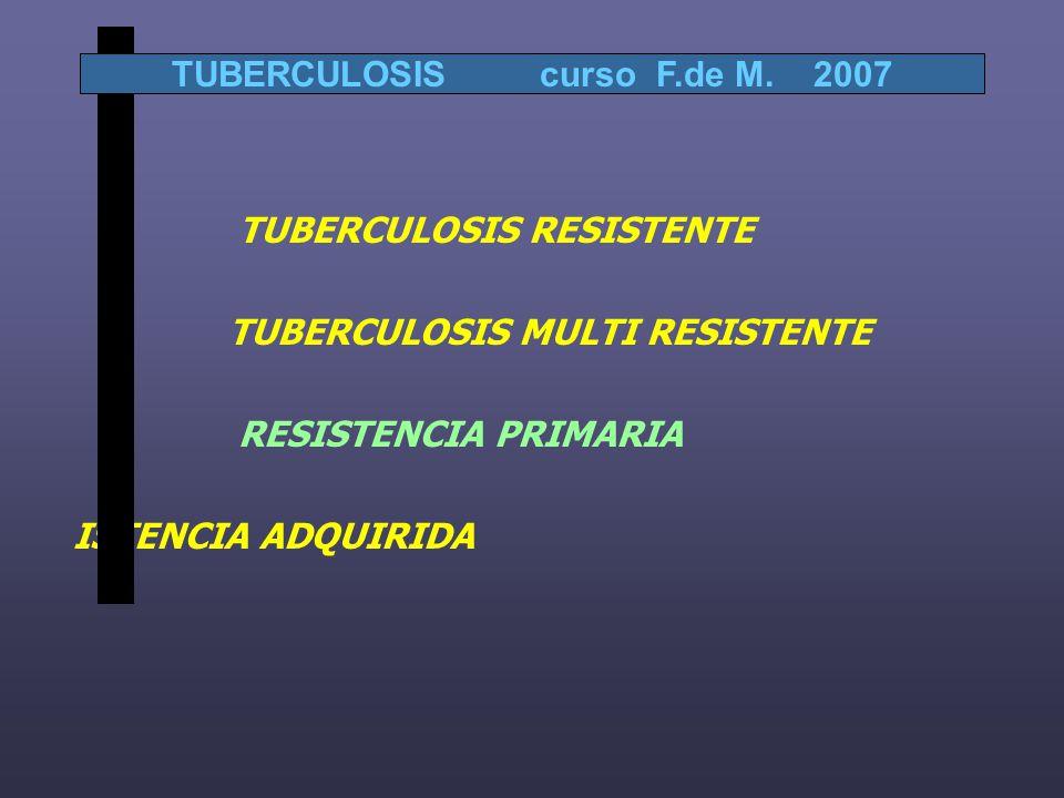 TUBERCULOSIS RESISTENTE TUBERCULOSIS MULTI RESISTENTE RESISTENCIA PRIMARIA ISTENCIA ADQUIRIDA TUBERCULOSIS curso F.de M.