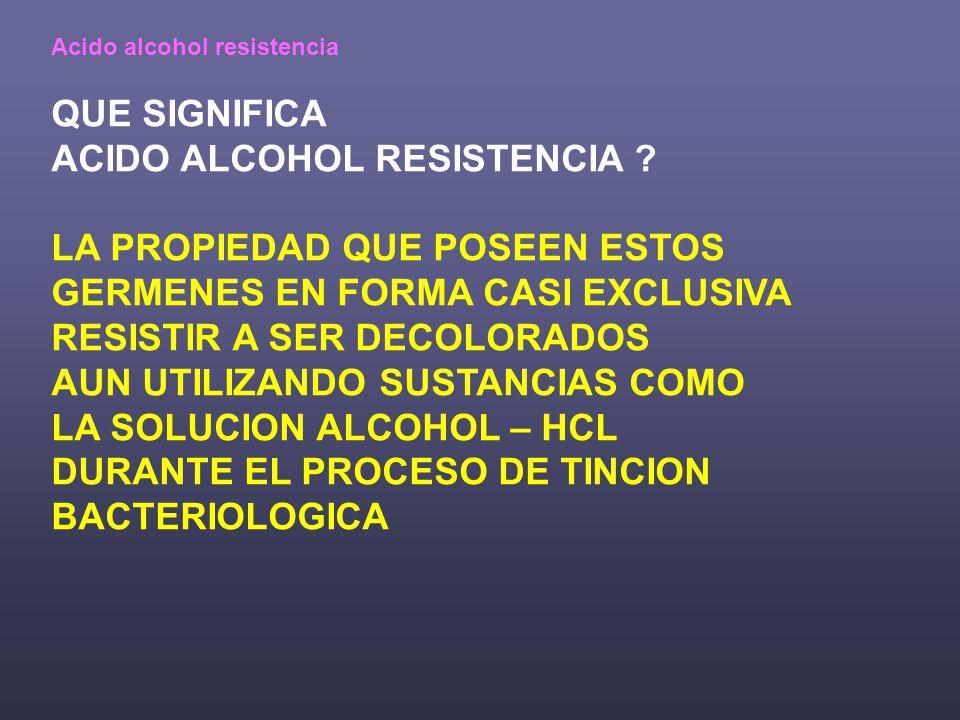 Acido alcohol resistencia QUE SIGNIFICA ACIDO ALCOHOL RESISTENCIA .