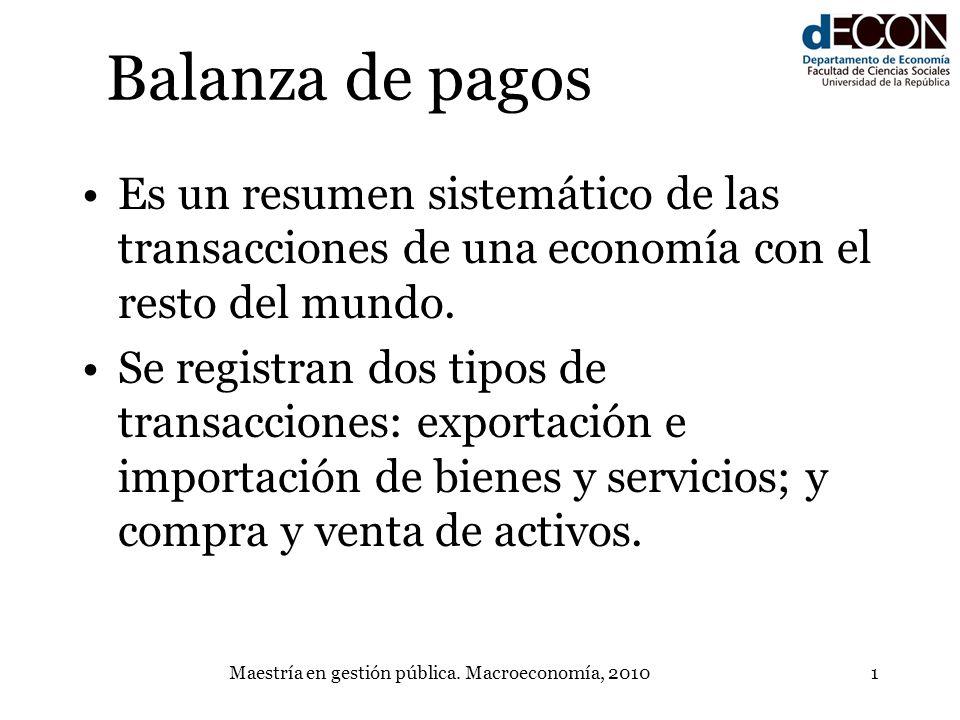 Maestría en gestión pública. Macroeconomía, 20101 Balanza de pagos Es un resumen sistemático de las transacciones de una economía con el resto del mun
