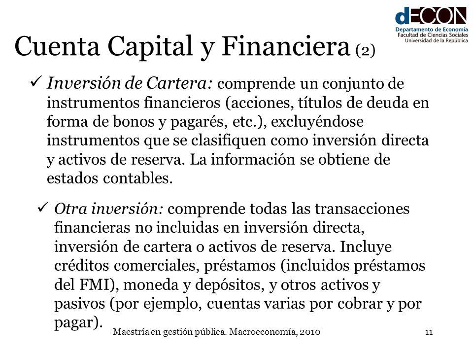 Maestría en gestión pública. Macroeconomía, 201011 Cuenta Capital y Financiera (2) Inversión de Cartera: comprende un conjunto de instrumentos financi