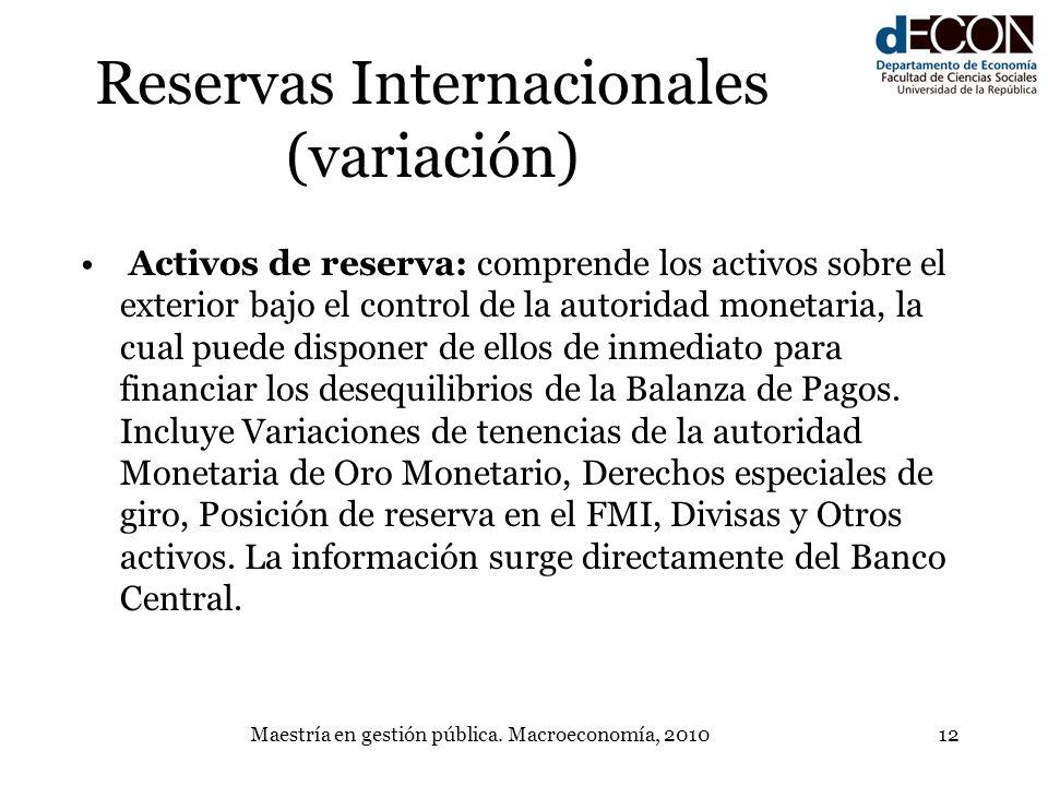 Maestría en gestión pública. Macroeconomía, 201012 Reservas Internacionales (variación) Activos de reserva: comprende los activos sobre el exterior ba