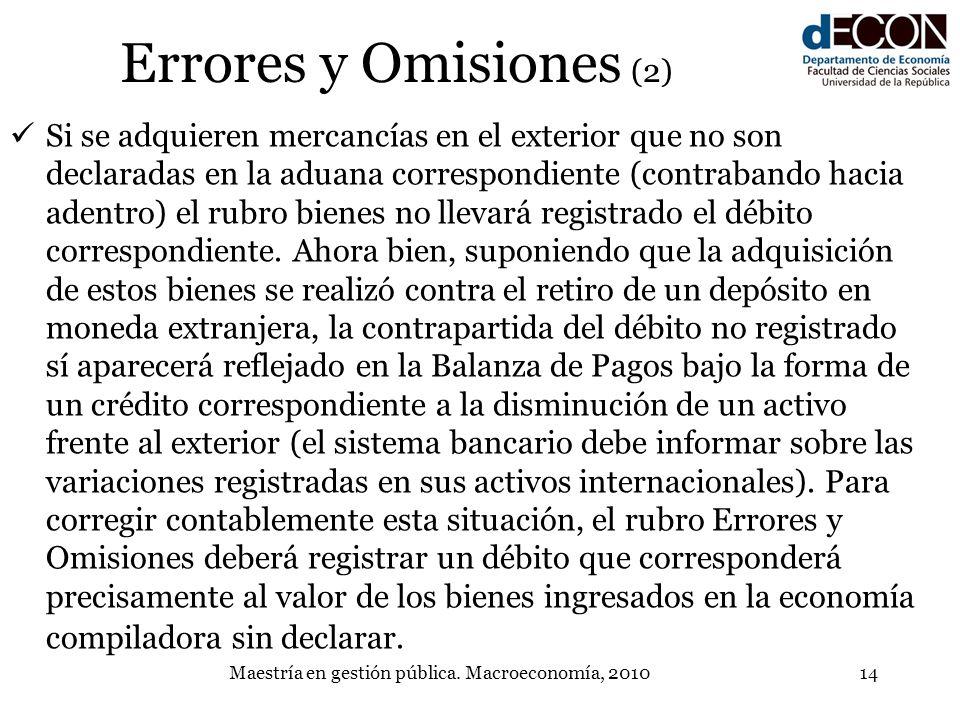 Maestría en gestión pública. Macroeconomía, 201014 Errores y Omisiones (2) Si se adquieren mercancías en el exterior que no son declaradas en la aduan