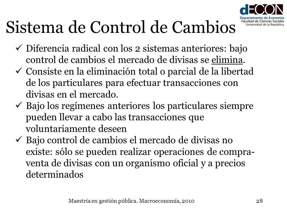 Maestría en gestión pública. Macroeconomía, 201028 Sistema de Control de Cambios Diferencia radical con los 2 sistemas anteriores: bajo control de cam
