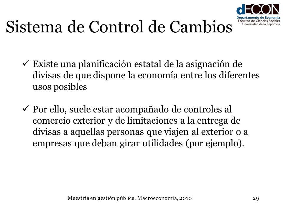 Maestría en gestión pública. Macroeconomía, 201029 Sistema de Control de Cambios Existe una planificación estatal de la asignación de divisas de que d