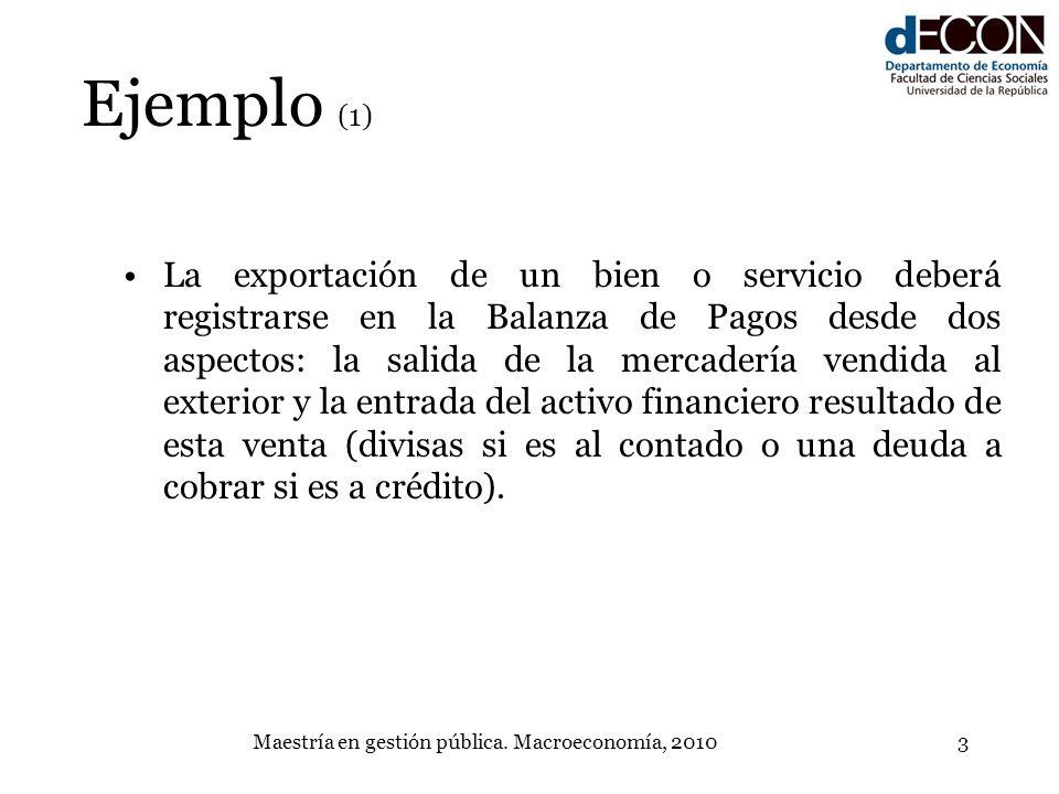 Maestría en gestión pública. Macroeconomía, 20103 Ejemplo (1) La exportación de un bien o servicio deberá registrarse en la Balanza de Pagos desde dos