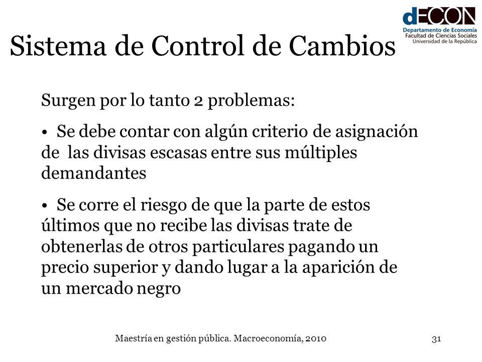 Maestría en gestión pública. Macroeconomía, 201031 Sistema de Control de Cambios Surgen por lo tanto 2 problemas: Se debe contar con algún criterio de