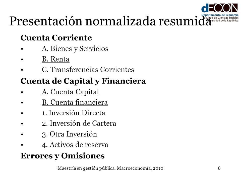 Maestría en gestión pública. Macroeconomía, 20106 Cuenta Corriente A. Bienes y Servicios B. Renta C. Transferencias Corrientes Cuenta de Capital y Fin
