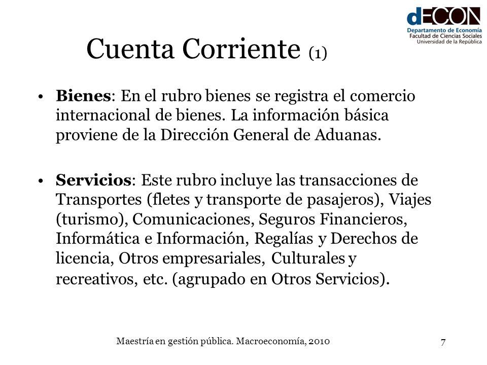 Maestría en gestión pública. Macroeconomía, 20107 Cuenta Corriente (1) Bienes: En el rubro bienes se registra el comercio internacional de bienes. La