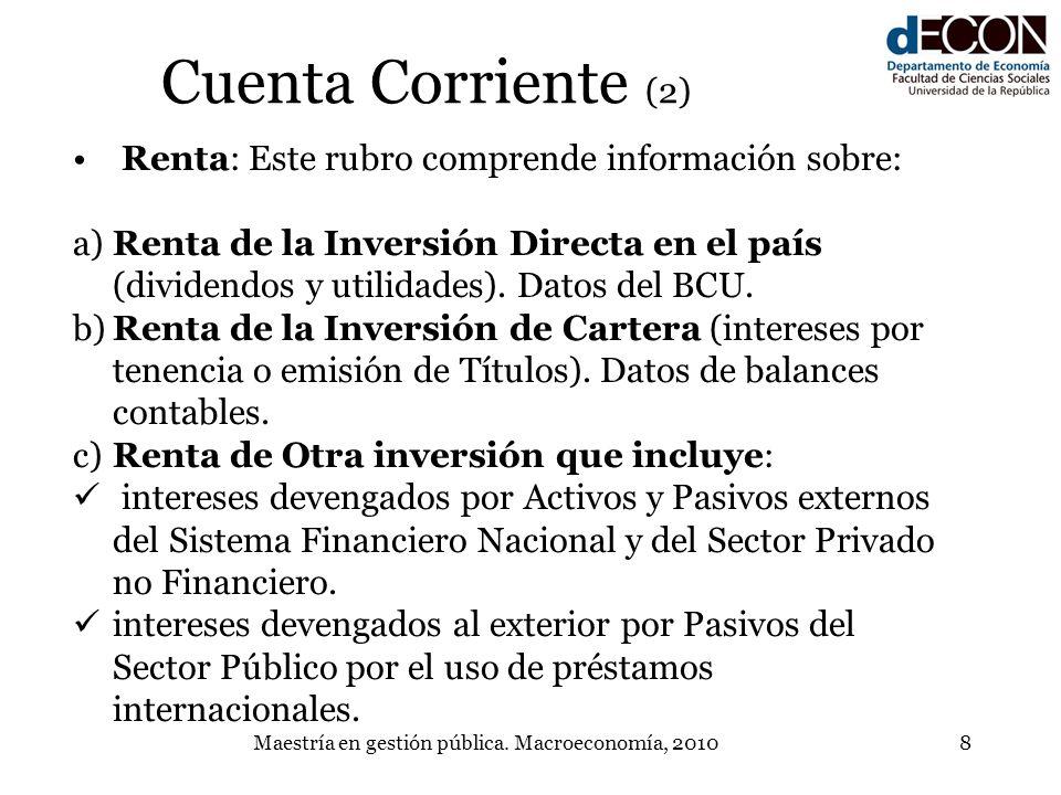 Maestría en gestión pública. Macroeconomía, 20108 Cuenta Corriente (2) Renta: Este rubro comprende información sobre: a)Renta de la Inversión Directa