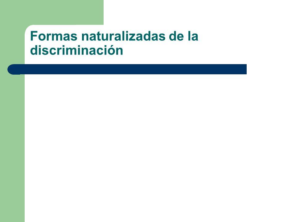 Formas naturalizadas de la discriminación