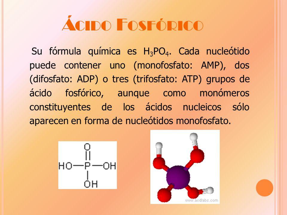 Á CIDO F OSFÓRICO Su fórmula química es H 3 PO 4.