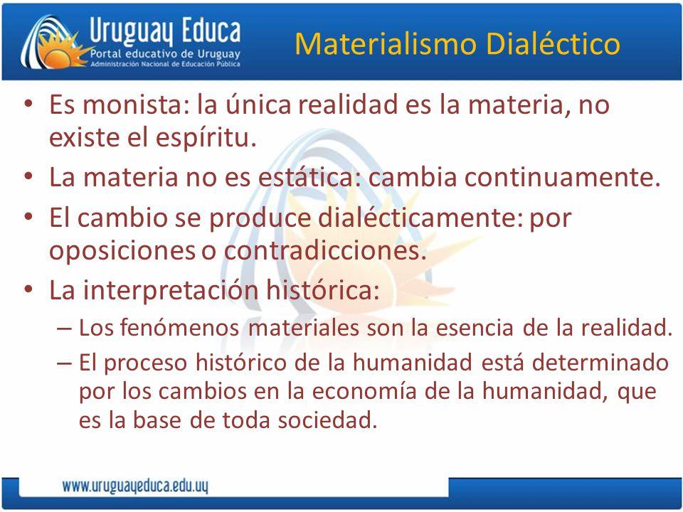 Materialismo Dialéctico Es monista: la única realidad es la materia, no existe el espíritu.