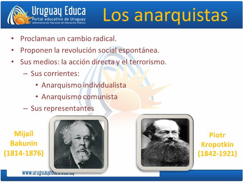 Los anarquistas Proclaman un cambio radical.Proponen la revolución social espontánea.