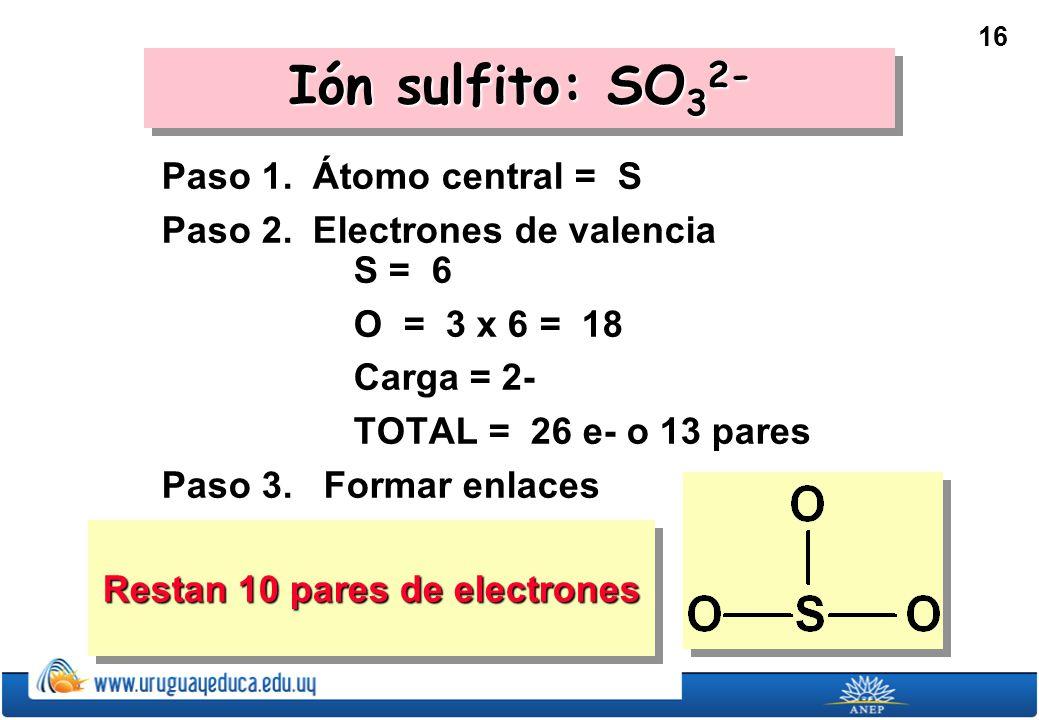 16 Restan 10 pares de electrones Ión sulfito: SO 3 2- Paso 1.