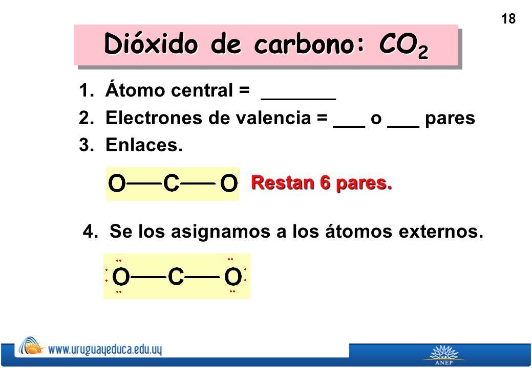 18 Dióxido de carbono: CO 2 1.Átomo central = _______ 2.
