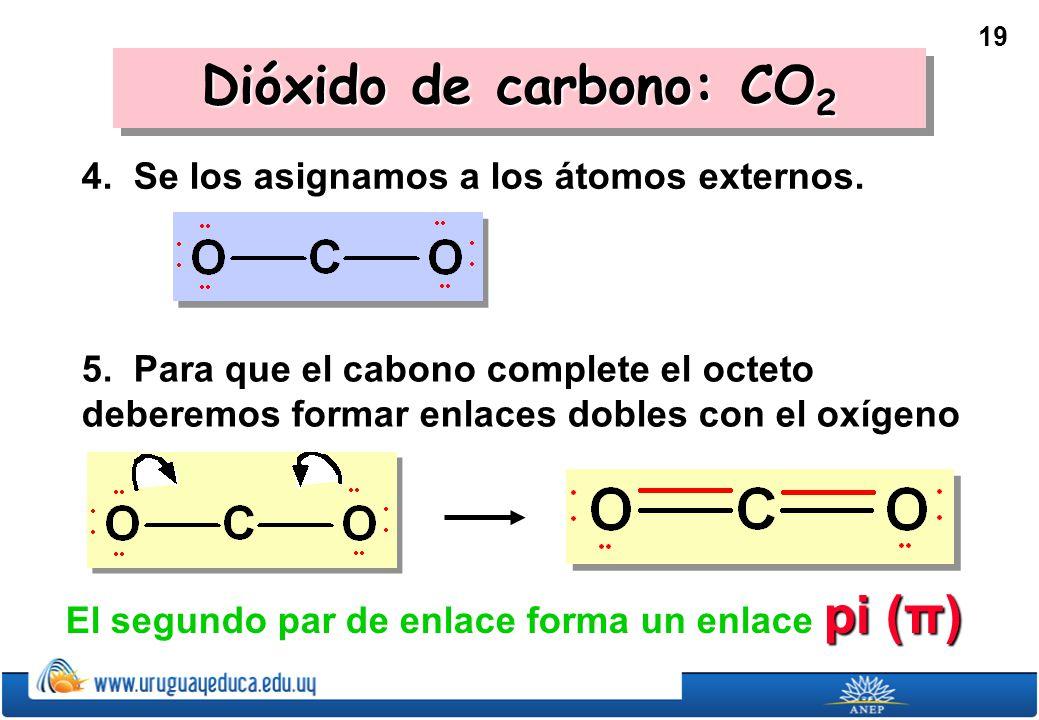 19 Dióxido de carbono: CO 2 4.Se los asignamos a los átomos externos.