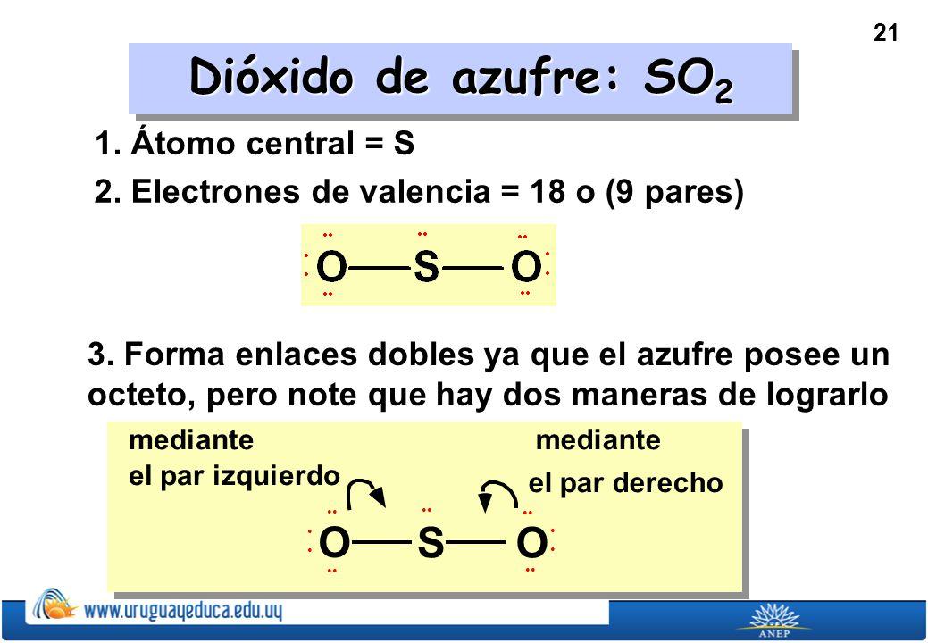21 Dióxido de azufre: SO 2 1.Átomo central = S 2.