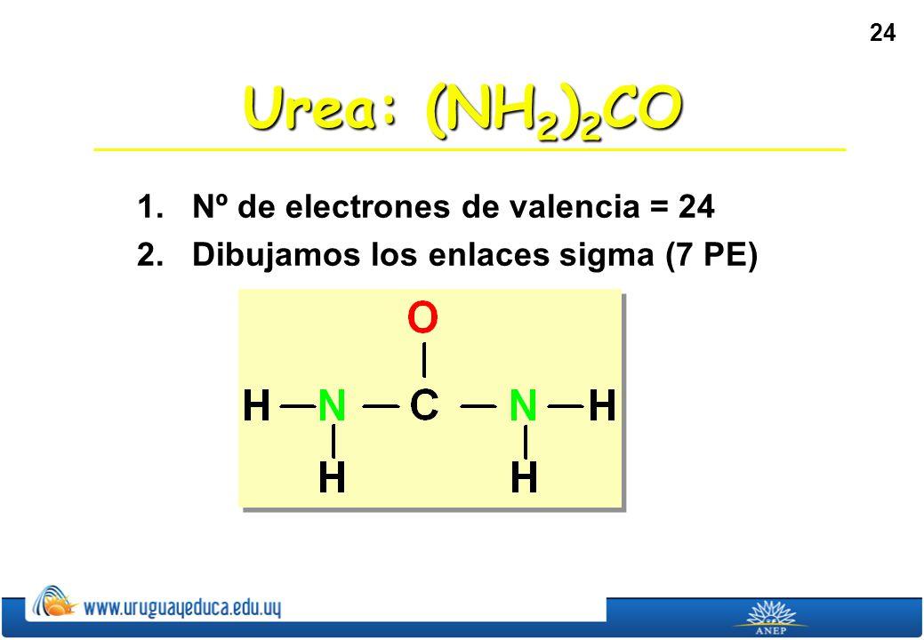 24 Urea: (NH 2 ) 2 CO 1. Nº de electrones de valencia = 24 2. Dibujamos los enlaces sigma (7 PE)