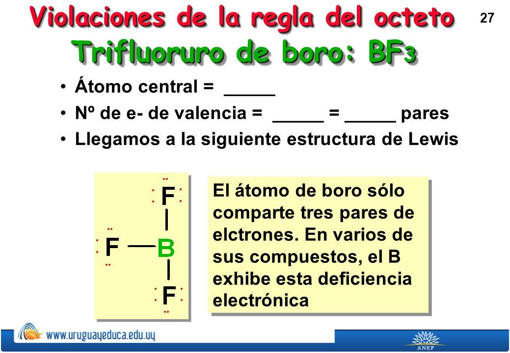 27 Trifluoruro de boro: BF 3 Átomo central = _____Átomo central = _____ Nº de e- de valencia = _____ = _____ paresNº de e- de valencia = _____ = _____ pares Llegamos a la siguiente estructura de LewisLlegamos a la siguiente estructura de Lewis El átomo de boro sólo comparte tres pares de elctrones.