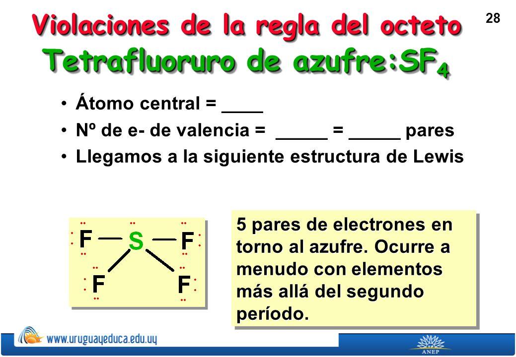 28 Tetrafluoruro de azufre:SF 4 Átomo central = ____Átomo central = ____ Nº de e- de valencia = _____ = _____ paresNº de e- de valencia = _____ = _____ pares Llegamos a la siguiente estructura de LewisLlegamos a la siguiente estructura de Lewis 5 pares de electrones en torno al azufre.