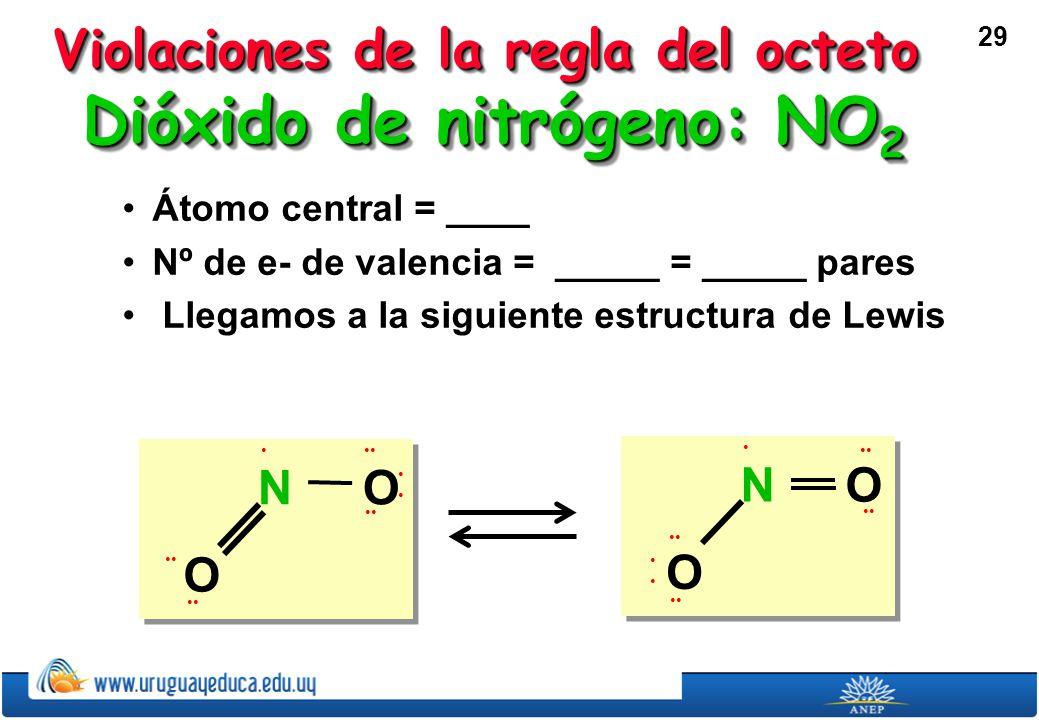 29 Dióxido de nitrógeno: NO 2 Átomo central = ____Átomo central = ____ Nº de e- de valencia = _____ = _____ paresNº de e- de valencia = _____ = _____ pares Llegamos a la siguiente estructura de Lewis Llegamos a la siguiente estructura de Lewis O O N Violaciones de la regla del octeto O O N