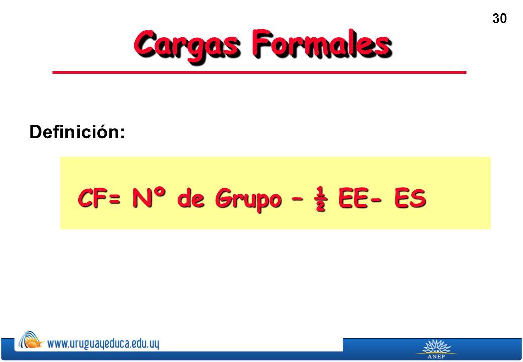 30 Cargas Formales Definición: CF= Nº de Grupo – ½ EE- ES
