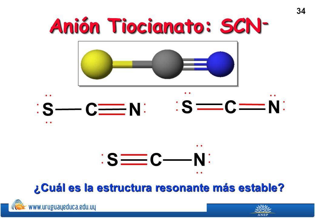 34 Anión Tiocianato: SCN - SNC SNC SNC ¿Cuál es la estructura resonante más estable?
