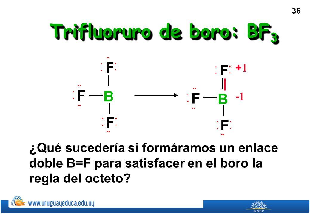 36 Trifluoruro de boro: BF 3 ¿Qué sucedería si formáramos un enlace doble B=F para satisfacer en el boro la regla del octeto.